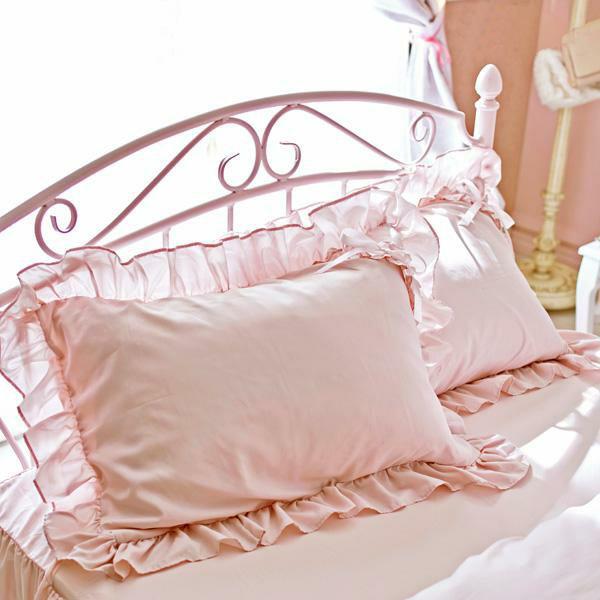 リボンがポイントのたっぷりフリルがロマンティックな枕カバー 本物 新作多数 ミルフィーユ枕カバー ピンク