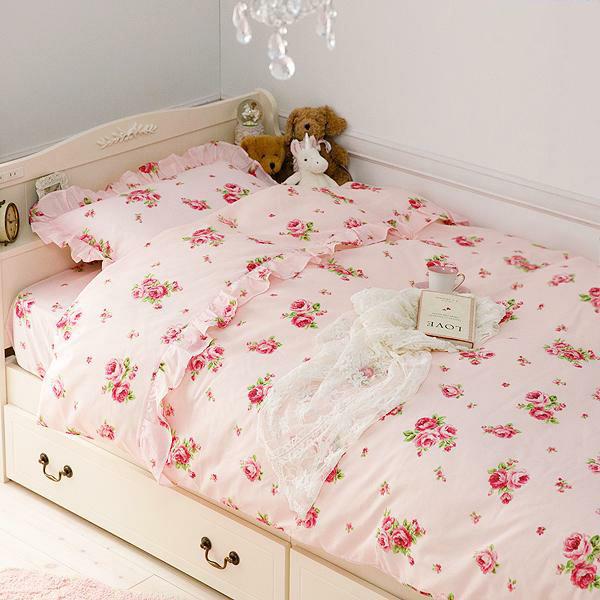 お部屋の印象を華やかにしてくれるバラ柄のカバーリングセット 本物 ミニローズ布団カバー3点セット ご注文で当日配送