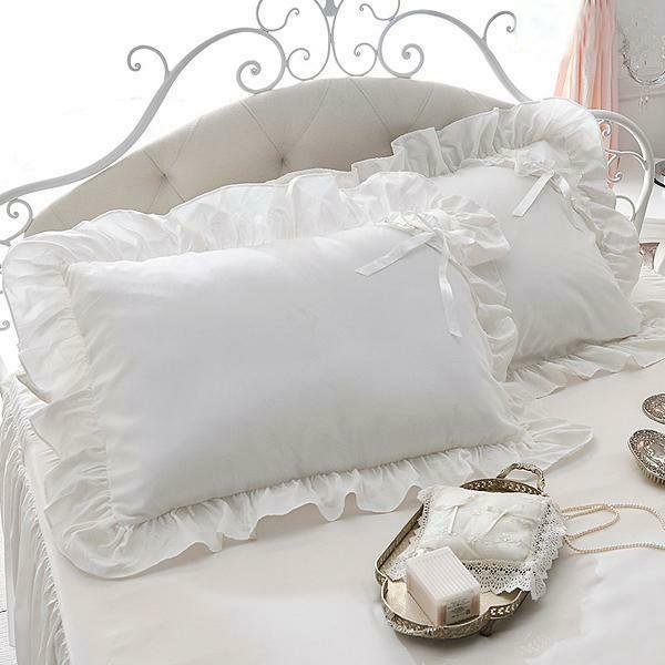 開店祝い 全品最安値に挑戦 リボンがポイントのたっぷりフリルがロマンティックな枕カバー ミルフィーユ枕カバー ホワイト