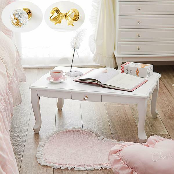 【直送】取っ手を着せ替えできる猫脚折りたたみテーブル小(引出付)/クリスタル&リボン