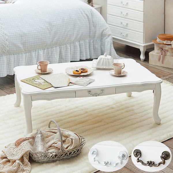 【直送】取っ手を着せ替えできる猫脚折りたたみテーブル大(引出付)/ホワイト&アンティーク