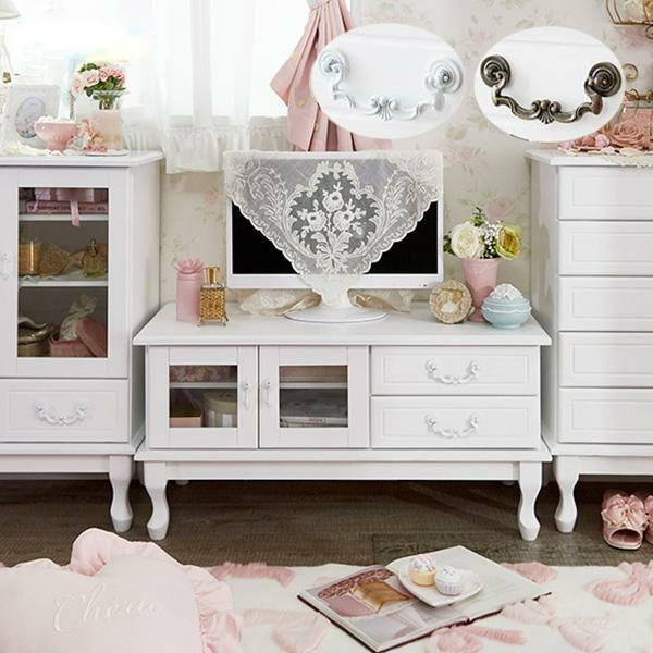 【直送】取っ手を着せ替えできる猫脚テレビ台小/ホワイト&アンティーク