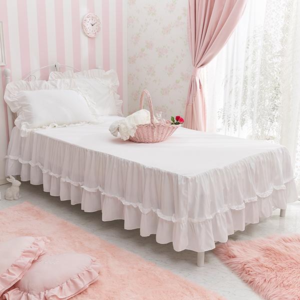フリルたっぷりティアードスカート仕様でお気に入りのベッドをドレスアップ ティアードフリルベッドスカート 洋シングル ホワイト 特価品コーナー☆ 正規激安