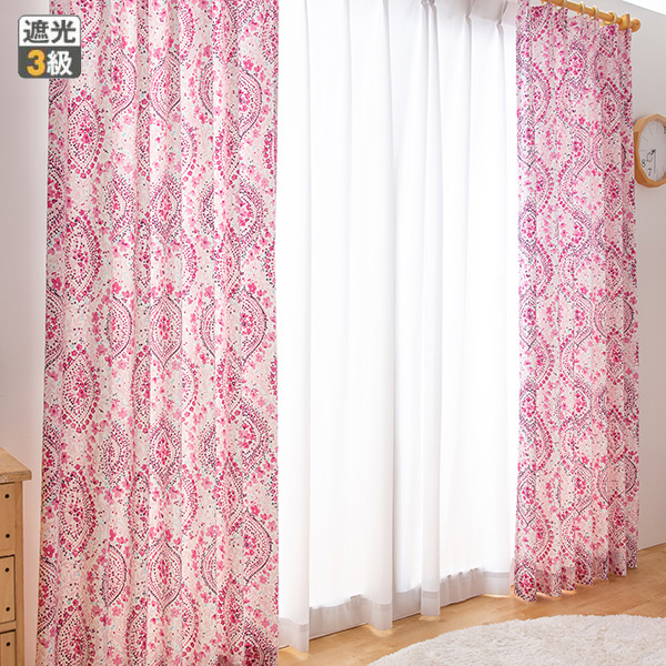 3級遮光カーテン/ワッサム(幅100cm×丈110・135cm・1枚)【直送】