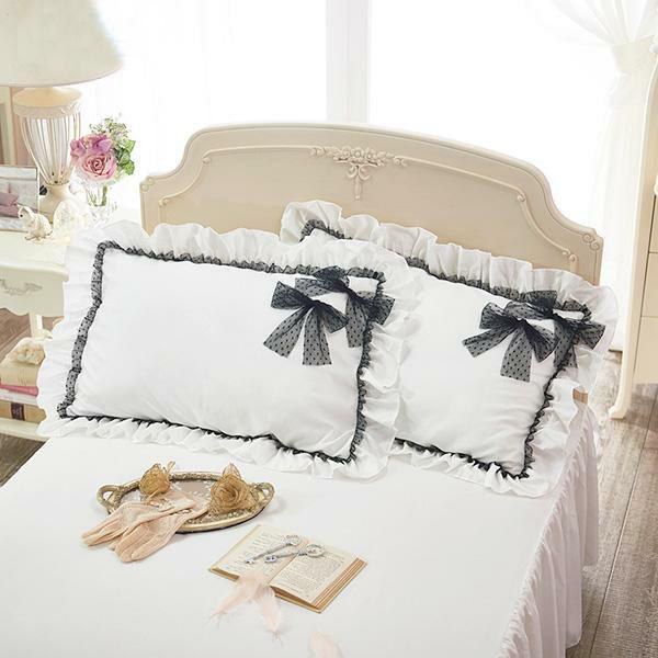ブラックリボンがポイントのたっぷりフリルがロマンティックな枕カバー 人気 送料無料 激安 お買い得 キ゛フト リュバンノワール枕カバー ホワイト