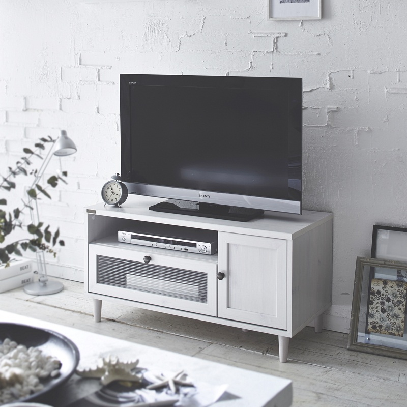 波ガラスを使用したデザインテレビ台 (幅90cm)【直送】