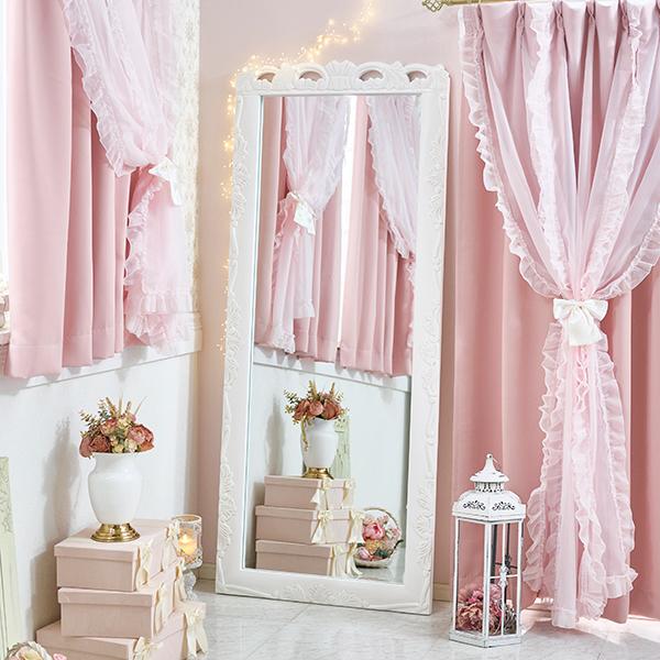 アンティーク風大判ミラー/Noble(ノーブル)シリーズ  姫系 かわいい 可愛い カワイイ 姫系家具 ロマンティック お姫様 おしゃれ【直送】