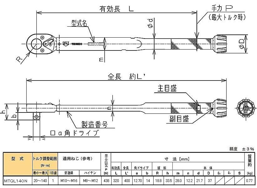 扭矩扳手 MTQL140N 东 (东日)