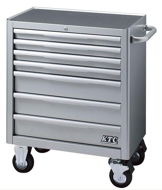 【直送】【代引不可】KTC(京都機械工具) ローラーキャビネット(7段7引出し) シルバー EKW-1007