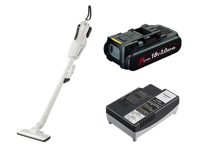 【あす楽】Panasonic(パナソニック) デュアル 充電クリーナー 18V ホワイト 3.0Ah充電池パックセット EZ37A3PN1G-W