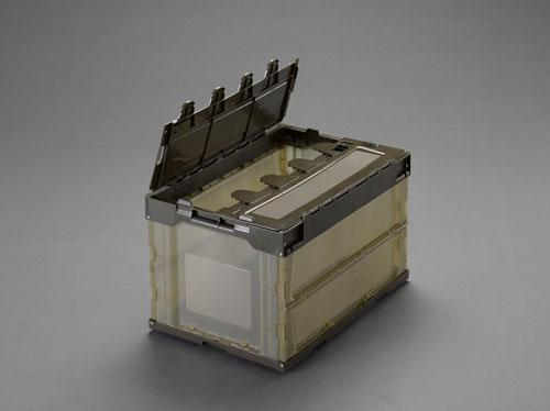 エスコ(ESCO) 530x366x334mm/50.4L折畳コンテナ(半透明/蓋/5コ EA506AA-130E