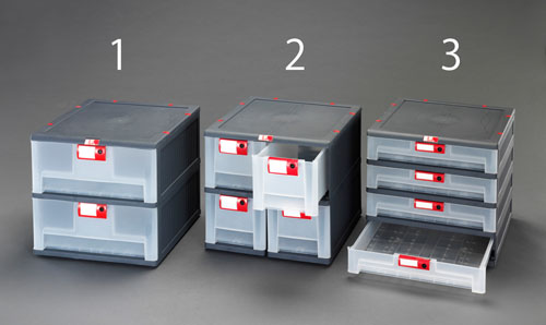 エスコ(ESCO) 450x460x420mm/1列4段 収納ボックス(引出し式) EA506MP-3