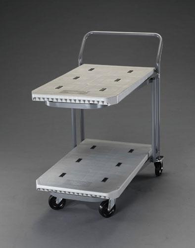 【直送】【代引不可】エスコ(ESCO) 810x480mm/200kg 運搬車(二段式/プラスチック製) EA520P-12