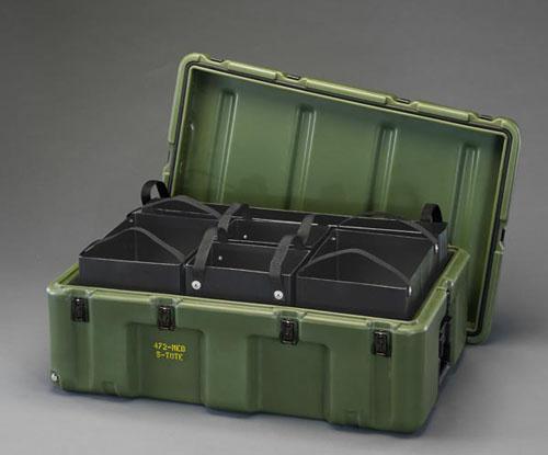 エスコ(ESCO) 736x457x274mm ストレージケース(トレー付/OD色) EA657H-3G