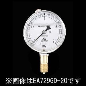 エスコ(ESCO) 75mm/0-10MPa 圧力計(グリセリン入) EA729GE-100