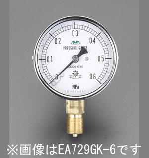 エスコ(ESCO) 100mm/0-10MPa 圧力計(耐脈動圧型) EA729GM-100