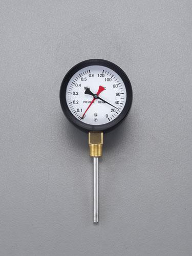 エスコ(ESCO) 0-120℃/0-0.6MPa/φ110mm 水高計(立型) EA729PA-15