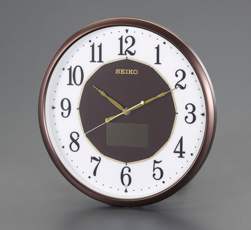 エスコ(ESCO) φ325mm [電波]掛時計・ソーラー電源 EA798CC-127
