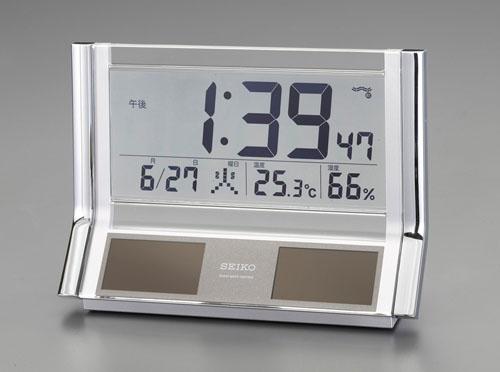エスコ(ESCO) 141x202x67mm [電波]置時計・ソーラー電源 EA798CS-4
