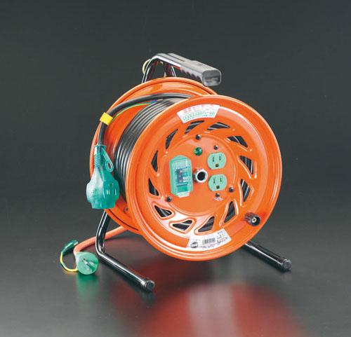 エスコ(ESCO) AC125V/15A/30m コードリール(元置型・漏電遮断) EA815DP-2