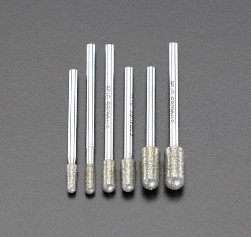 エスコ(ESCO) 6本組 ダイヤモンドバー(3mm軸) EA819SY-36