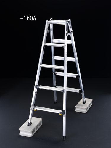 【直送】【代引不可】エスコ(ESCO) 2.17m はしご兼用脚立(ワイドステップ/伸縮脚) EA903AD-220A