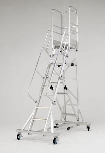 【直送】【代引不可】エスコ(ESCO) 2.66m/8段 作業台(手摺り付/折畳式) EA903BE-12