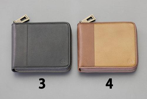 エスコ(ESCO) 115x95x20mm 二つ折り財布 (黒) EA927BR-3