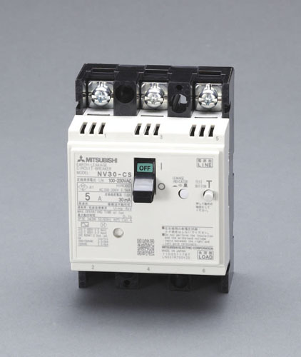 エスコ(ESCO) AC100-230V/5A/3極 漏電遮断器(フレーム30) EA940MN-1