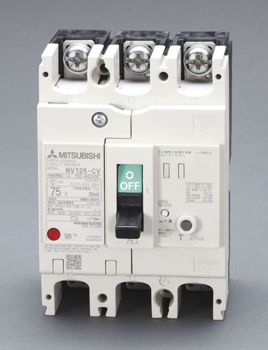 エスコ(ESCO) AC100-440V/125A/3極 漏電遮断器(フレーム125) EA940MN-49