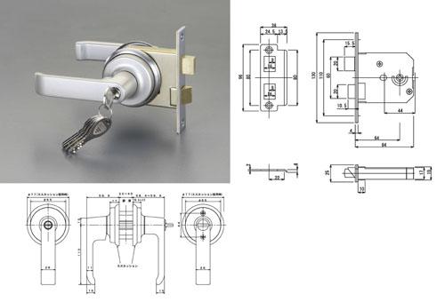 エスコ(ESCO) 32-40mm/64mm レバーハンドル玄関錠(取替用) EA951KB-24