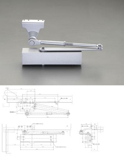 エスコ(ESCO) 65kg以下 ドアクローザー(パラレル・アングル型) EA951LD-43