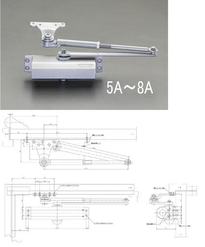 エスコ(ESCO) 85kg以下 ドアクローザー(パラレル型/シルバー) EA951LD-8A