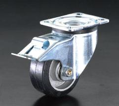 エスコ(ESCO) 200mm キャスター(自在金具・後輪ブレーキ付) EA986JE-4