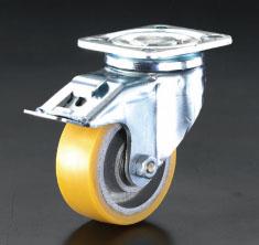 【ラッピング不可】 エスコ(ESCO) キャスター(自在金具・後輪ブレーキ付) EA986kg-14:工具屋のプロ 店 175mm-DIY・工具