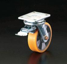エスコ(ESCO) 200mm キャスター(自在金具・前輪ブレーキ付) EA986KK-200