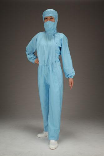 エスコ(ESCO) [L] クリーンルーム用フード付継ぎ服(青/サイドファスナー) EA996DC-12