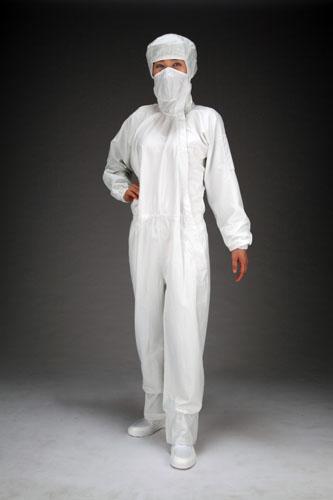 エスコ(ESCO) [L] クリーンルーム用フード付継ぎ服(白/サイドファスナー) EA996DC-2