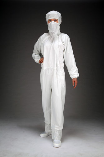 エスコ(ESCO) [3L] クリーンルーム用フード付継ぎ服(白/サイドファスナー) EA996DC-4