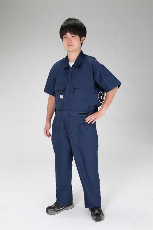 エスコ(ESCO) [L] 空調継ぎ作業服(送風ファン付/半袖ネイビー) EA996AM-102