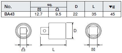插座适配器 BA43 康冠 (京都工具)