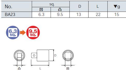 6.3 sq. socket adapter BA23 KTC (Kyoto machine tools)