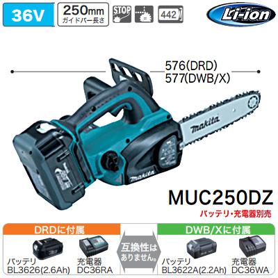 マキタ(makita) 充電式チェンソー(バッテリ・充電器なし) 36V MUC250DZ