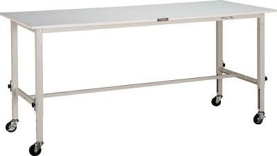 【直送】【代引不可】TRUSCO(トラスコ) AEM型高さ調整軽量作業台 リノリューム天板 1800X600 75φ車輪付 ホワイト RAEM-1860C75 W