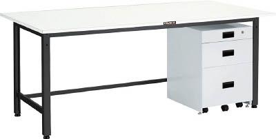 【直送】【代引不可】TRUSCO(トラスコ) LEW型軽量作業台 スチール天板 1500X750XH740 3段キャビネット付 LEWS-1500UDK111