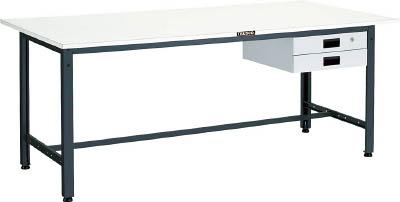 【直送】【代引不可】TRUSCO(トラスコ) LEW型軽量作業台 スチール天板 1500X750XH740 薄型2段引出付 LEWS-1500UDK2