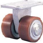 スエヒロ(カツヤマキカイ) プレート式重荷重用双輪キャスター(ウレタン車輪)φ70 HPTHR70X35