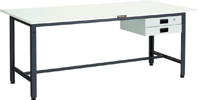 TRUSCO(トラスコ) LEW型軽量作業台 ポリ化粧天板 1500X750X740 薄型引出2段 LEWP-1500UDK2
