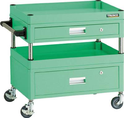 【激安】 FLW-611VZYG:工具屋のプロ 600X400X600 フレックスワゴン 店 若緑色 【直送】【】TRUSCO(トラスコ) 上下引出付-DIY・工具