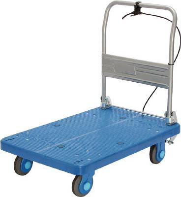 【直送】【代引不可】カナツー 樹脂製運搬車 静音ハンドル折畳式ハンドストッパー付 825X500 PLA250-DX-HS